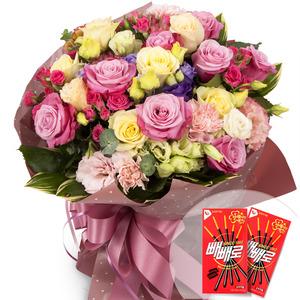 핑크혼합꽃다발1(빼빼로2개무료증정)