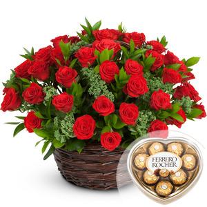 빨간장미꽃바구니 +초콜렛