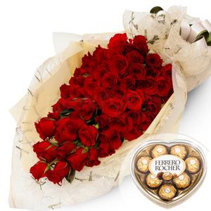 빨간장미100송이꽃다발+초콜렛포함