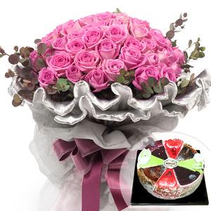 핑크로즈다발+케익